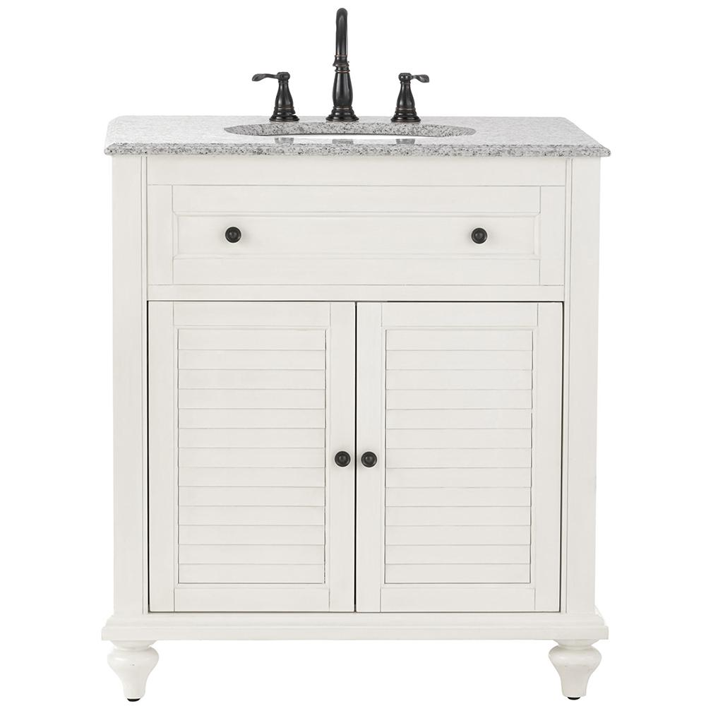 Home Decorators Collection Hamilton 31 in. W x 22 in. D Shutter Bath Vanity in White with Granite Vanity Top in Grey with White Basin