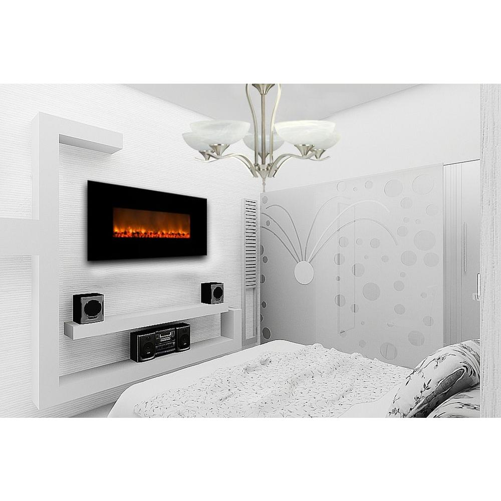 Yosemite Home Decor Carbon Flame 58 In Wall Mount Electric Fireplace In Black Df Efp148 The