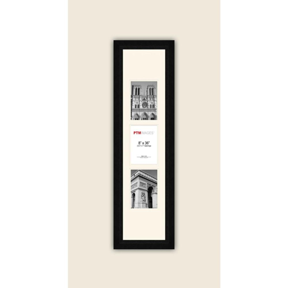 PTM Images 3-Opening Vertical 5 in. x 7 in. White Matted Black Photo Collage Frame