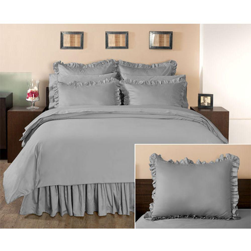Home Decorators Collection Ruffled Grant Gray King Sham