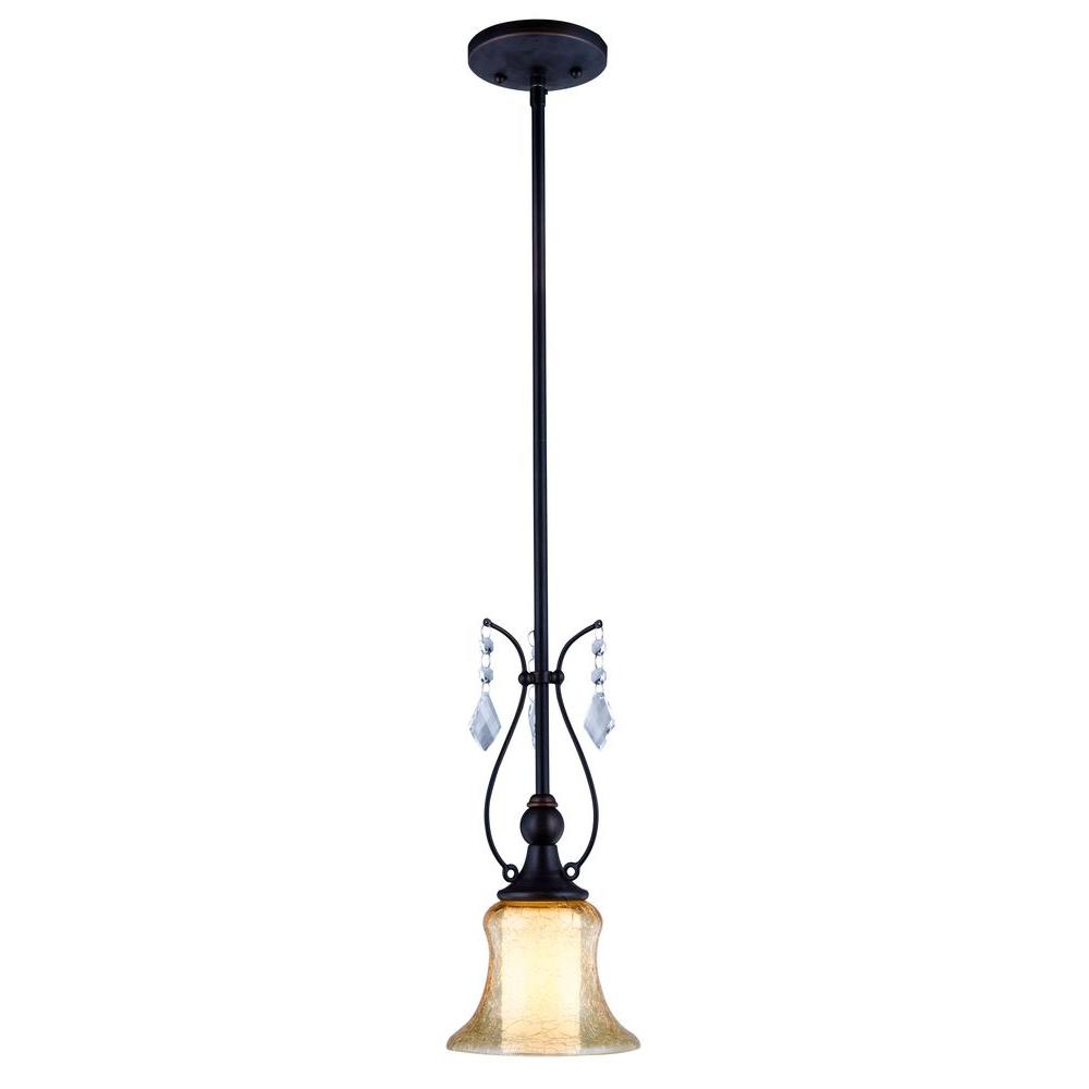 Ethelyn Collection Oil Rubbed Bronze Pendant with Elegant Old World Glass
