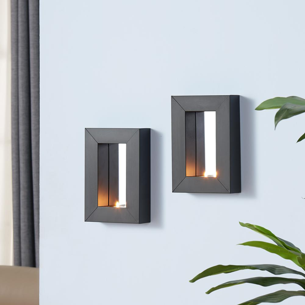 black metal frame tealight candle sconces with mirror set of 2