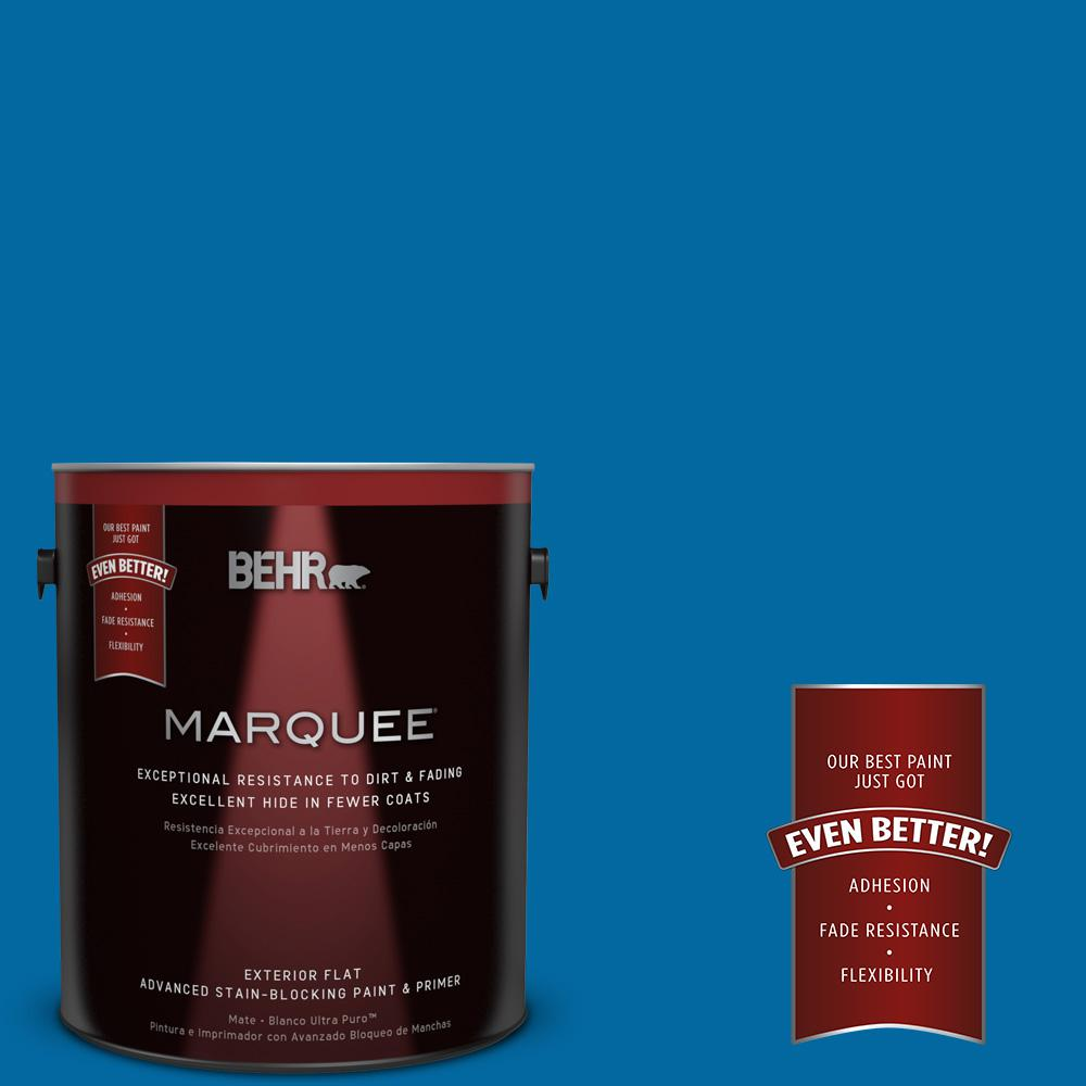 BEHR MARQUEE 1-gal. #S-G-560 Jazz Blue Flat Exterior Paint-445301 - The