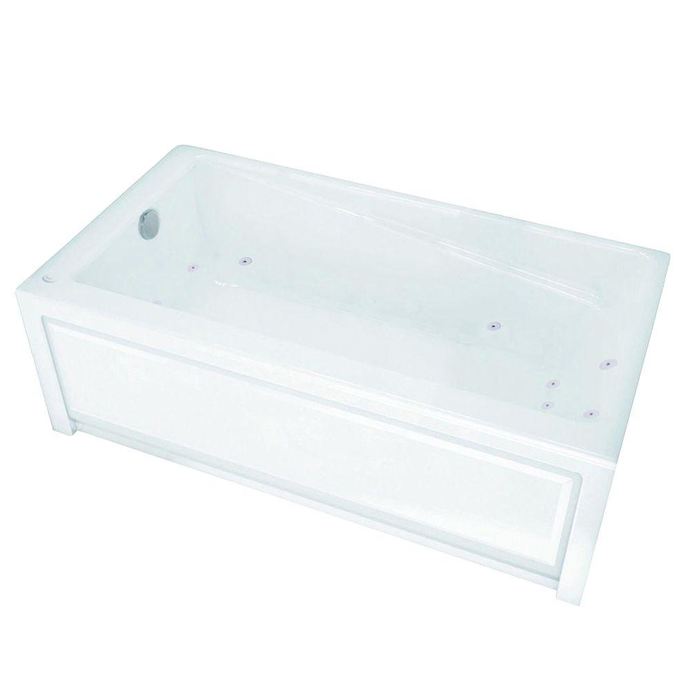MAAX Loft 5 ft. Whirlpool Tub with 10 Microjets Left Drain in White