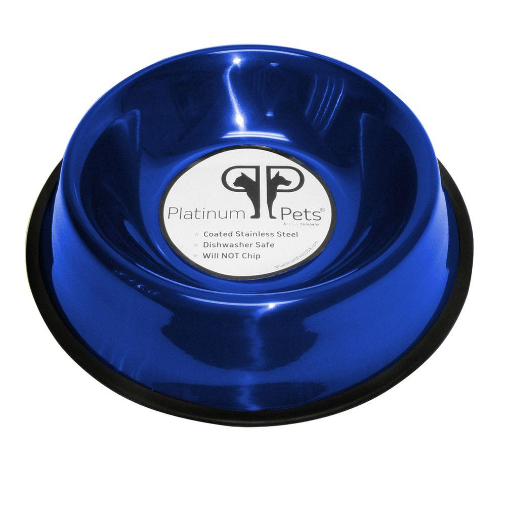 Platinum Pets 3 Cup Stainless Steel Non-Embossed Non-Tip Bowl in Blue-NEB24BLU