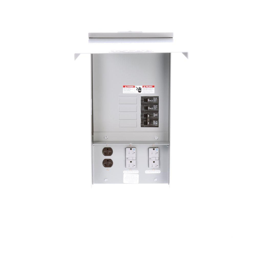 Siemens Temporary Power Outlet Panel with Two 20 Amp Duplex Receptacles and One 20 Amp 240-Volt Receptacle Unmetered