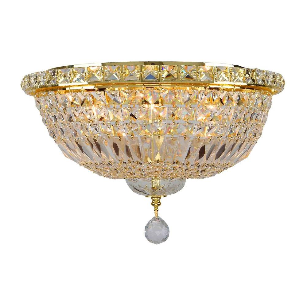 Worldwide Lighting Empire Collection 6-Light 16 in. Gold Ceiling Light with Clear Crystal