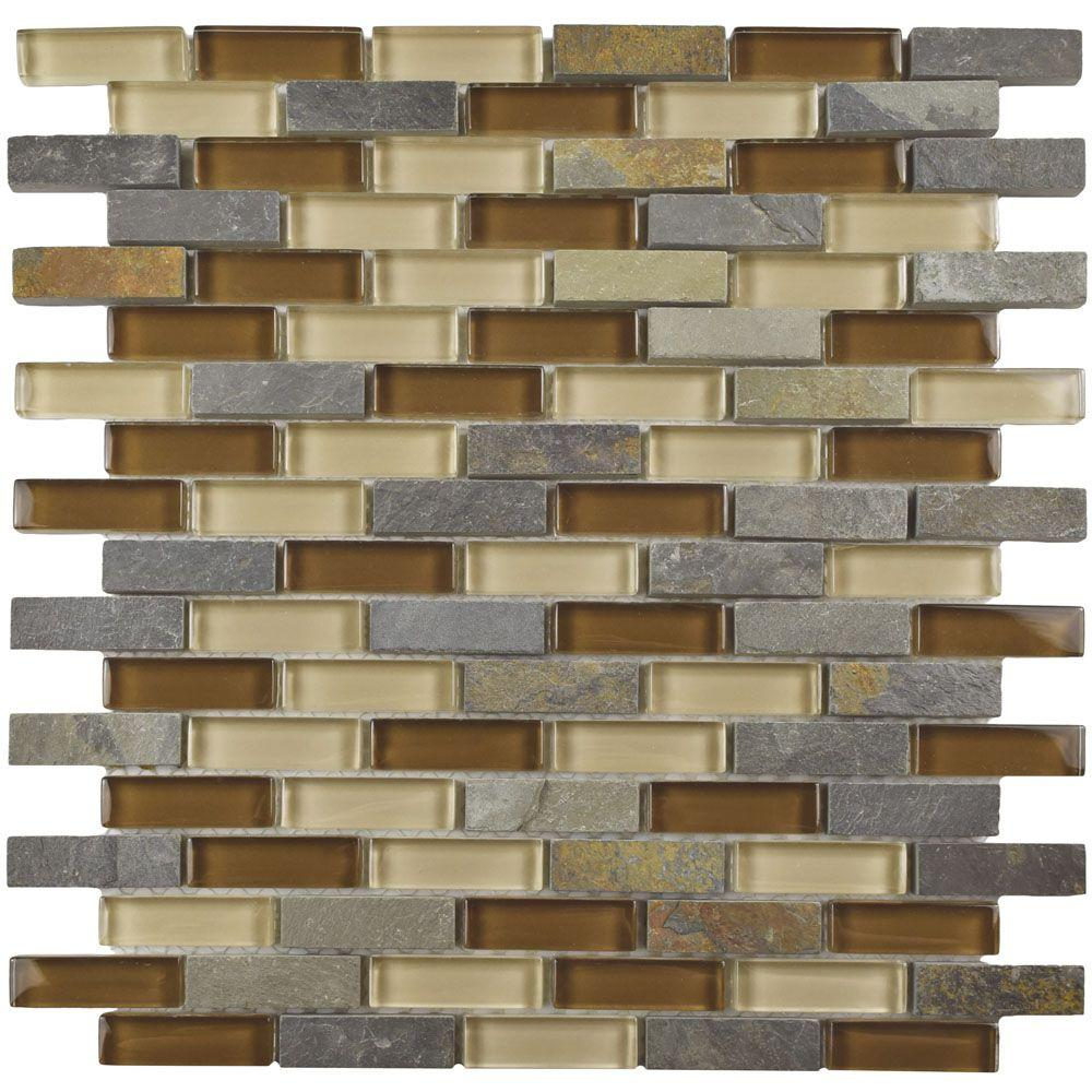 Merola Tile Tessera Subway Brixton 11-3/4 in. x 11-3/4 in. x 8 mm Glass and Stone Mosaic Tile, Multicolored Brown/Mixed Finish