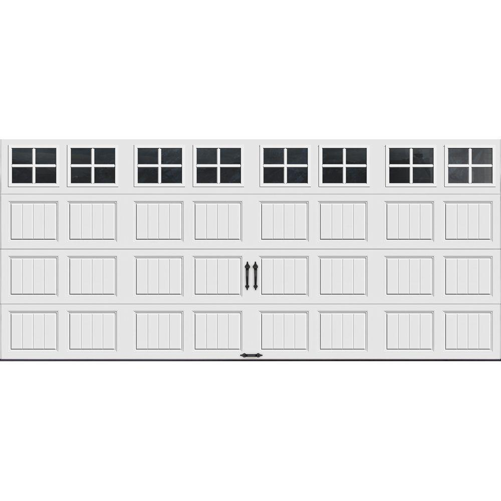 Clopay Gallery Collection 16 ft. x 7 ft. 18.4 R-Value Intellicore Insulated White Garage Door with SQ22 Window