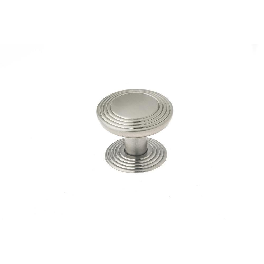 1-9/16 in. (40 mm) Transitional Brushed Nickel Round Cabinet Knob