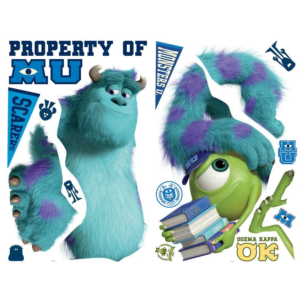 null 42.5 in. x 44.75 in. Monsters University Sully and Mikey Peel and Stick Giant Wall Decals