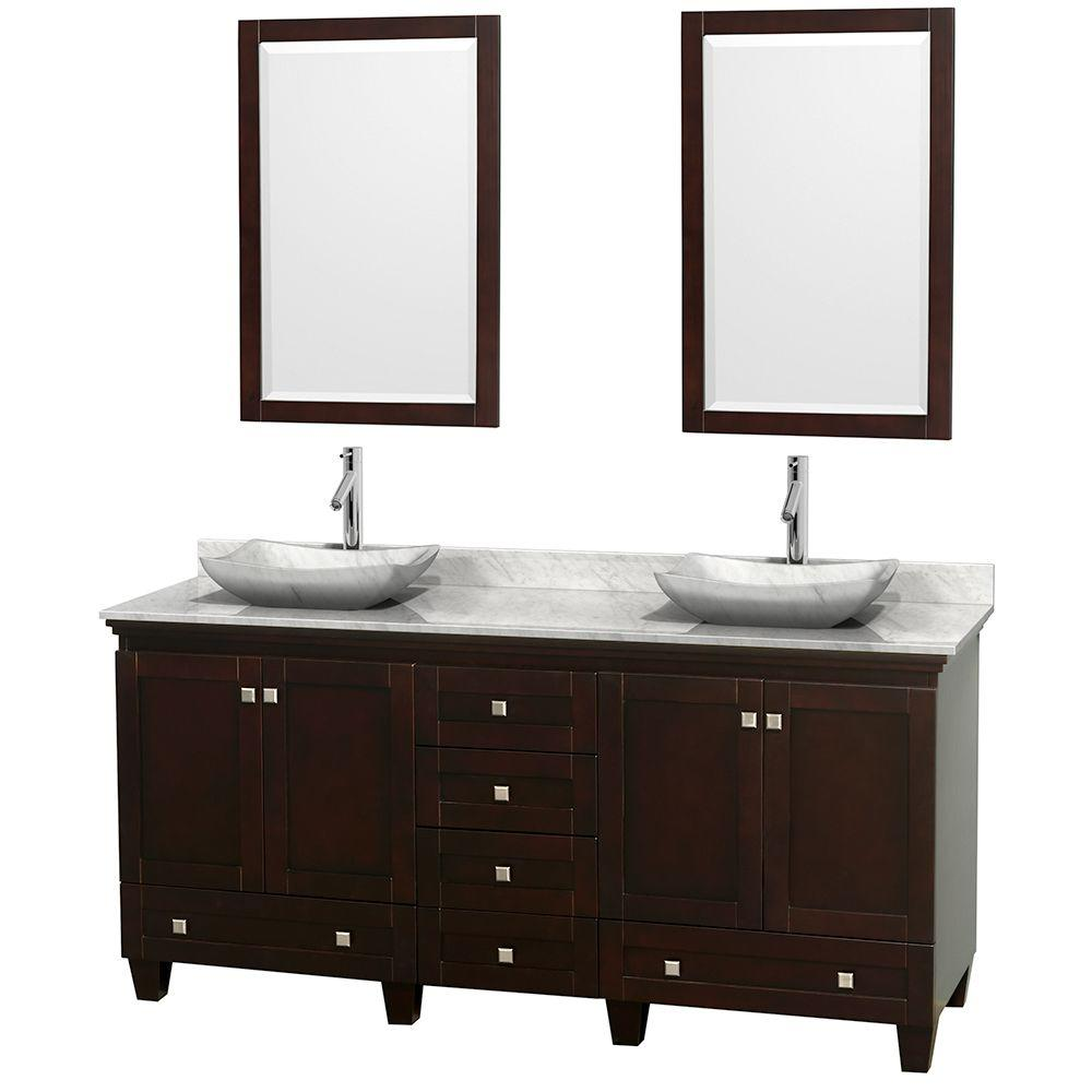 Wyndham Collection Acclaim 72 in. W Double Vanity in Espresso with Marble Vanity Top in Carrara White, White Carrara Sinks and 2 Mirrors