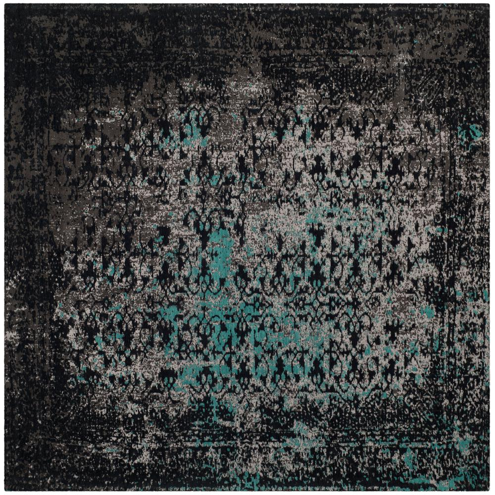 Classic Vintage Navy/Teal 6 Ft. X 6 Ft. Square Area Rug