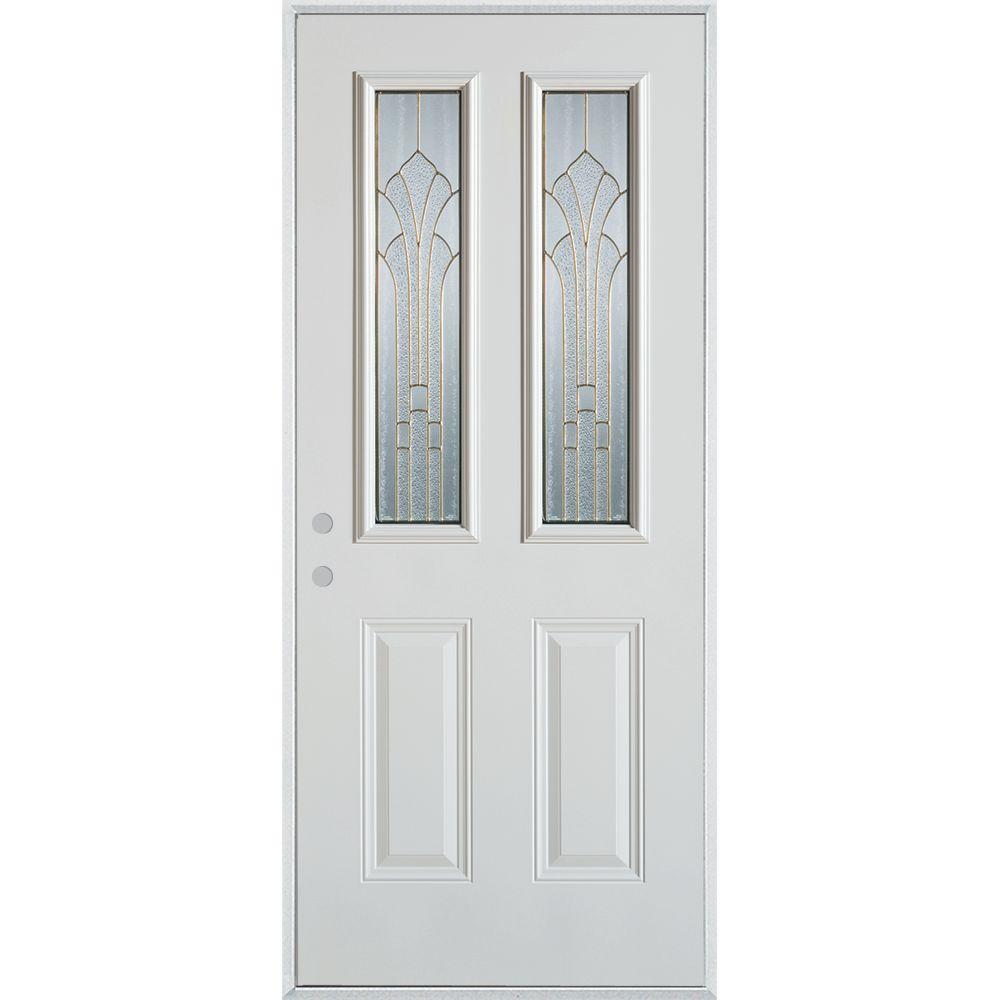 32 in. x 80 in. Art Deco 2 Lite 2-Panel Painted