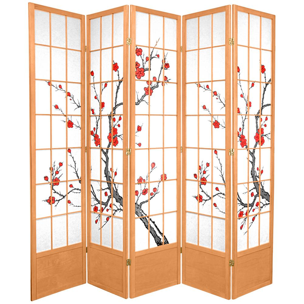 Oriental Furniture 7 ft. x 7 ft. 5-Panel Natural Cherry Blossom