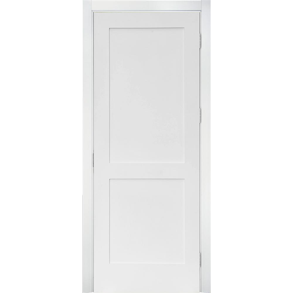 32 in. x 80 in. Craftsman Shaker Primed MDF 2-Panel Left-Hand