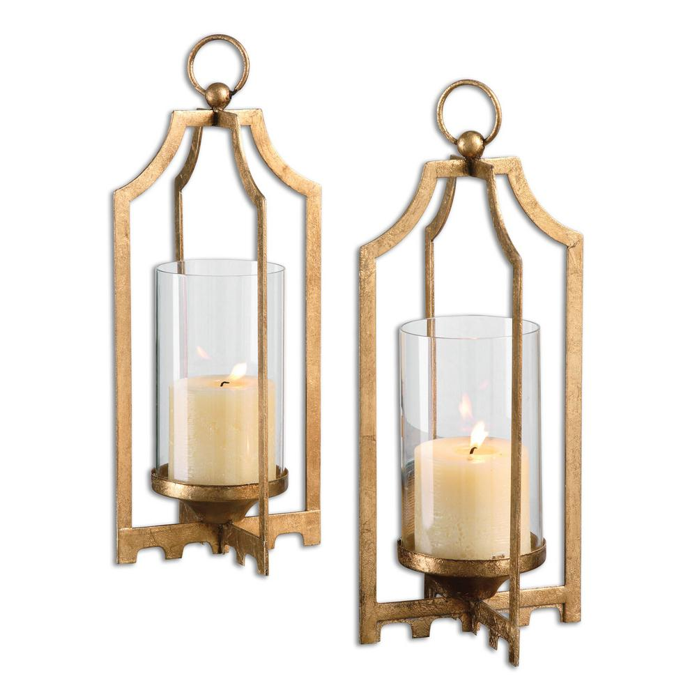 12.75 in. Metallic Gold Iron and Glass Candleholders (Set of 2)