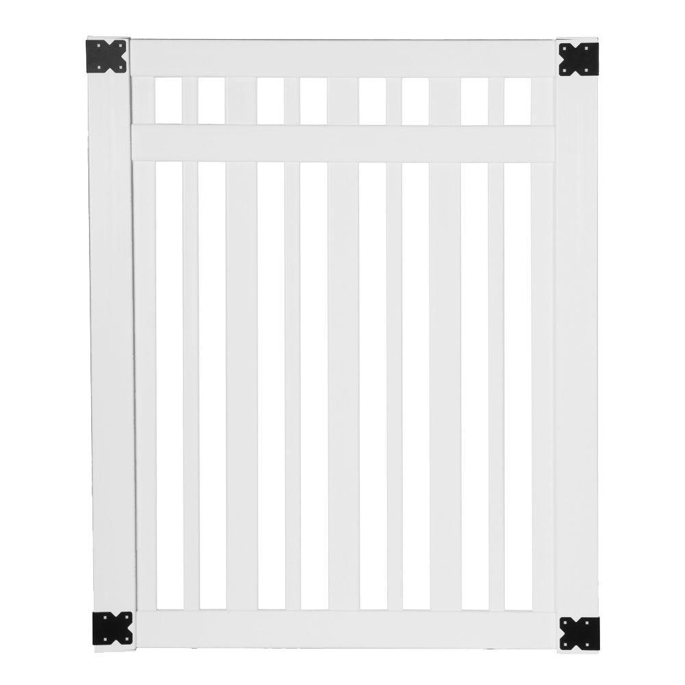 Veranda Pro Series 4 ft. W x 5 ft. H White Vinyl Lafayette Spaced Picket Fence Gate