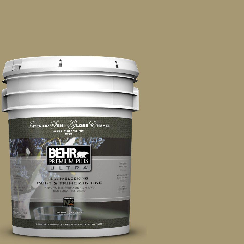 BEHR Premium Plus Ultra 5-gal. #S330-5 Dried Chive Semi-Gloss Enamel Interior Paint