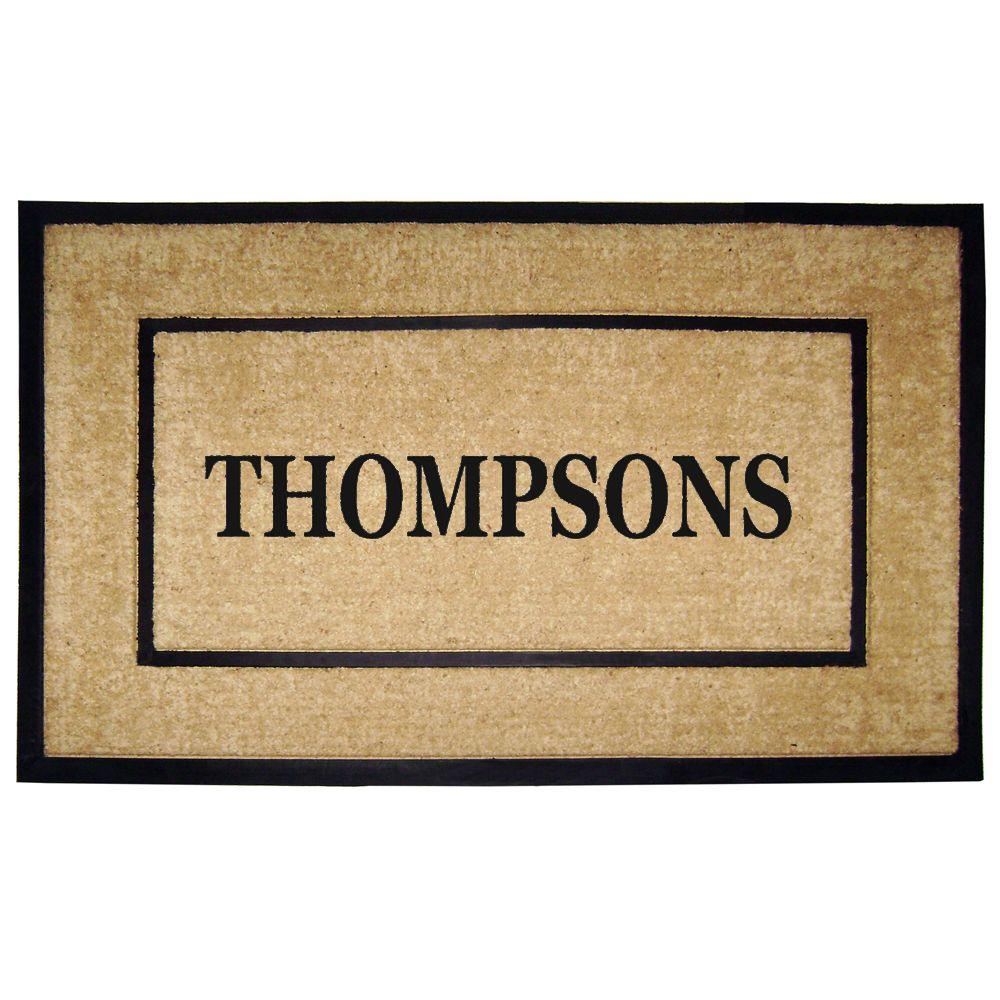 Nedia Home DirtBuster Single Picture Frame Black 30 in. x 48 in. Coir with Rubber Border Personalized Door Mat