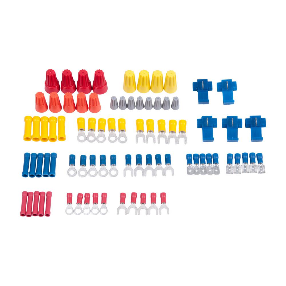 Slide Card Kit with 80 Assorted Wire Connectors, Solderless Terminals (Case