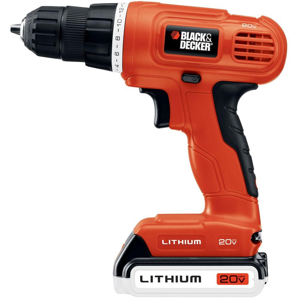 black decker 20 volt max lithium ion 3 8 in cordless. Black Bedroom Furniture Sets. Home Design Ideas