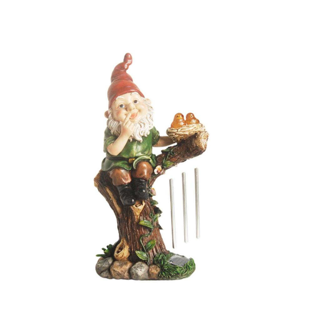 15-3/4 in. Forest Gnome with Solar Powered LED Lighted Birds Wind