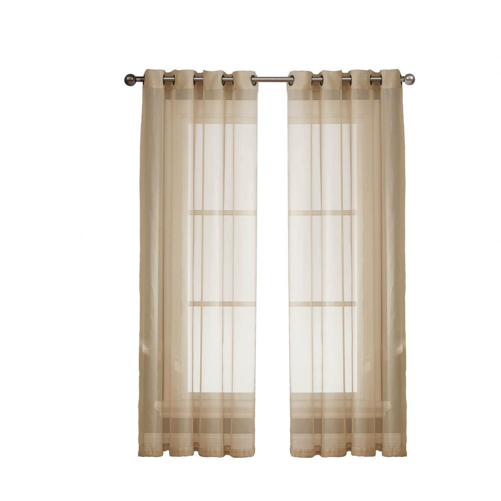 Window Elements Diamond Sheer Voile Taupe Grommet Extra