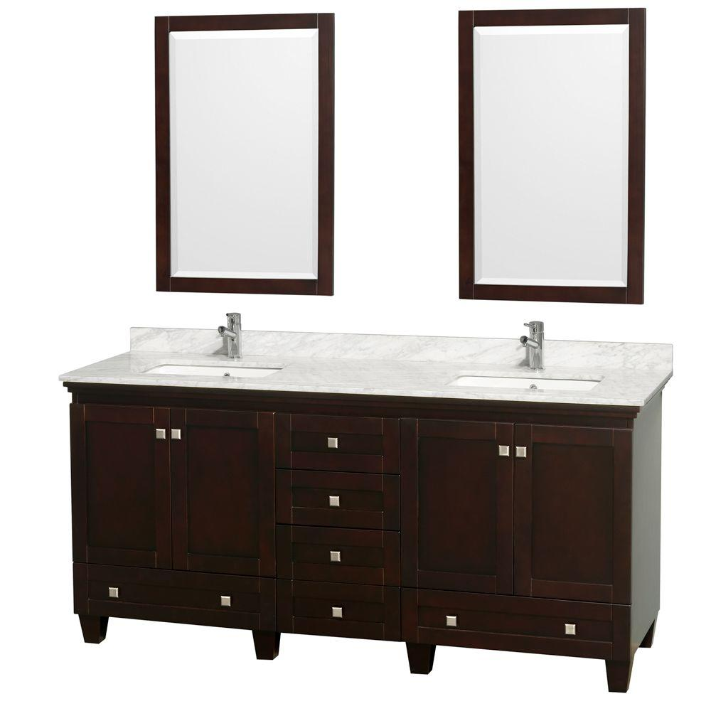Wyndham Collection Acclaim 72 in. Double Vanity in Espresso with Marble Vanity Top Carrara White Porcelain Under Mounted Sinks-DISCONTINUED