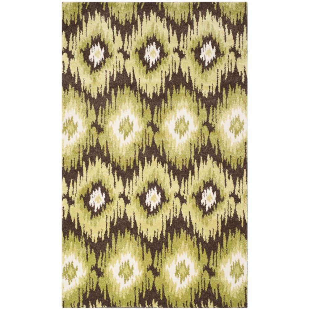 Retro Dark Brown/Green 5 ft. x 8 ft. Area Rug