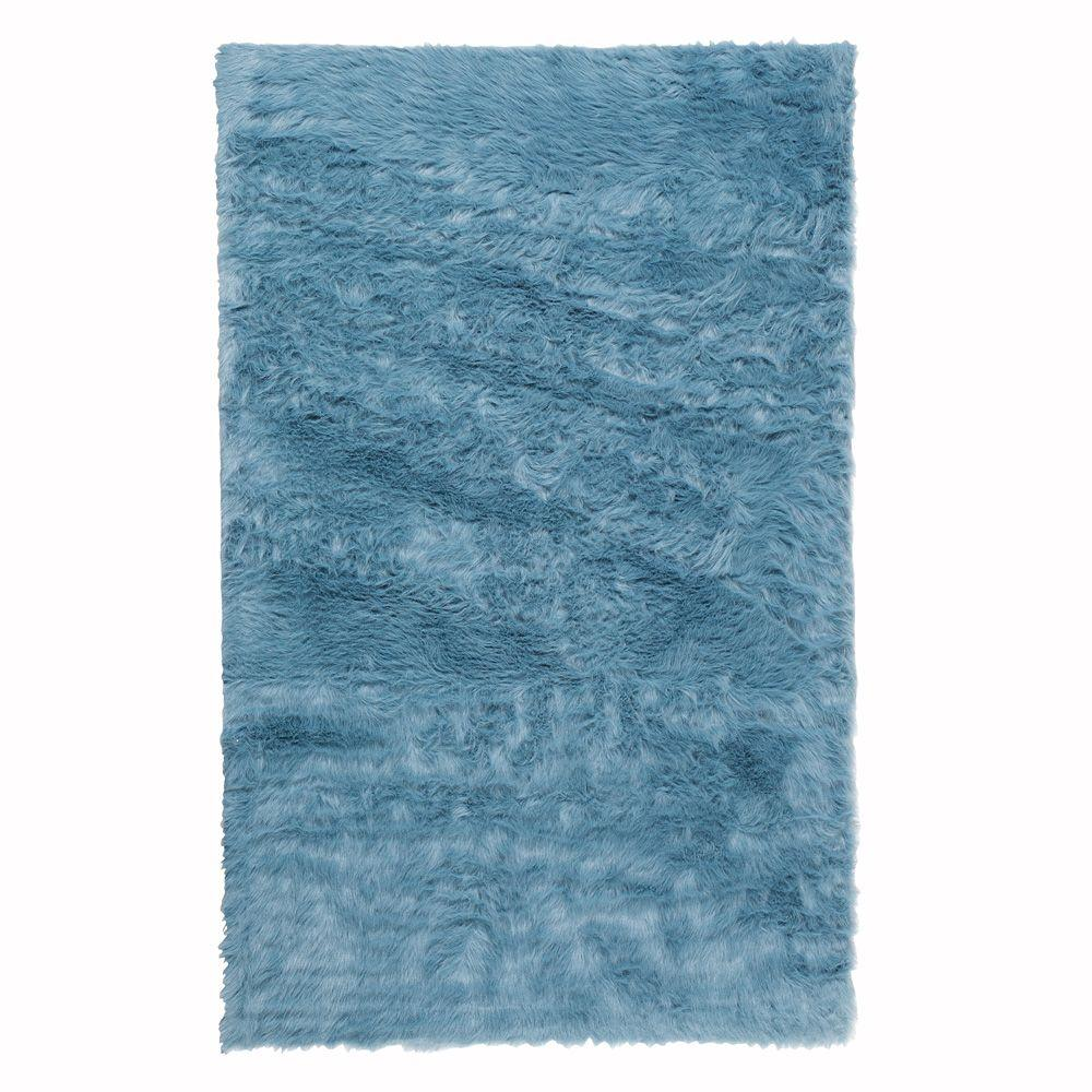Home Decorators Collection Faux Sheepskin Blue 3 ft. x 5 ft. Area Rug