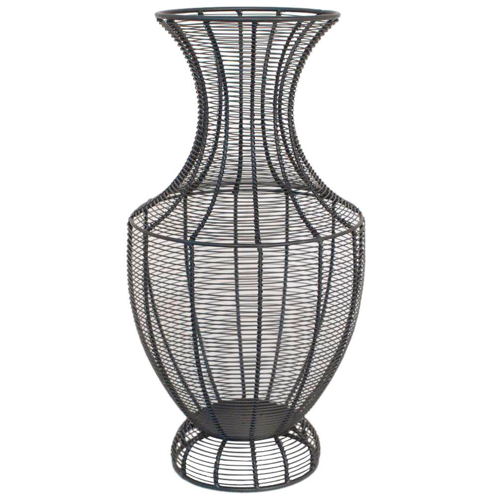 Home Decorators Collection Jorgen 18 in. H x 9 in. Black Round Wire Vase-DISCONTINUED