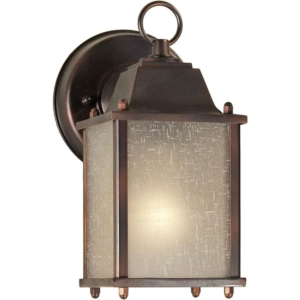 Talista 1 Light Outdoor Antique Bronze Wall Lantern With Umber Linen Glass CL
