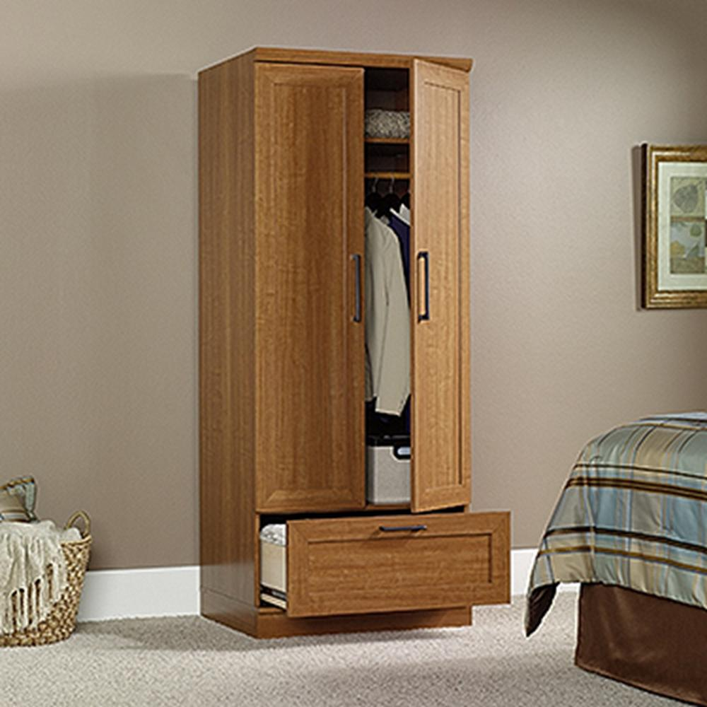 HomePlus Collection 29 in. x 71-1/8 in. x 21 in. Freestanding Wood Laminate Wardrobe with Storage Cabinet in Sienna Oak