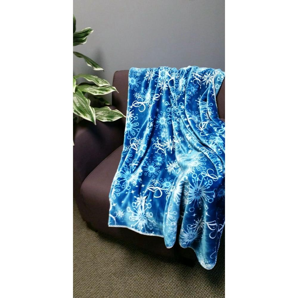 Cloud Touch Dark Blue Polyester Patterned Throw-Dark Blue Frost Swirl -