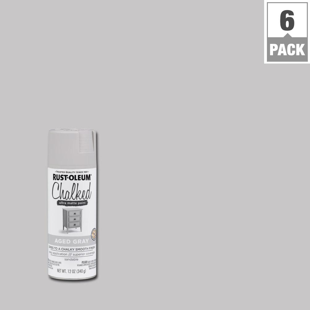 12 oz. Ultra-Matte Interior Chalked Spray Paint, Aged Gray (6-Pack)