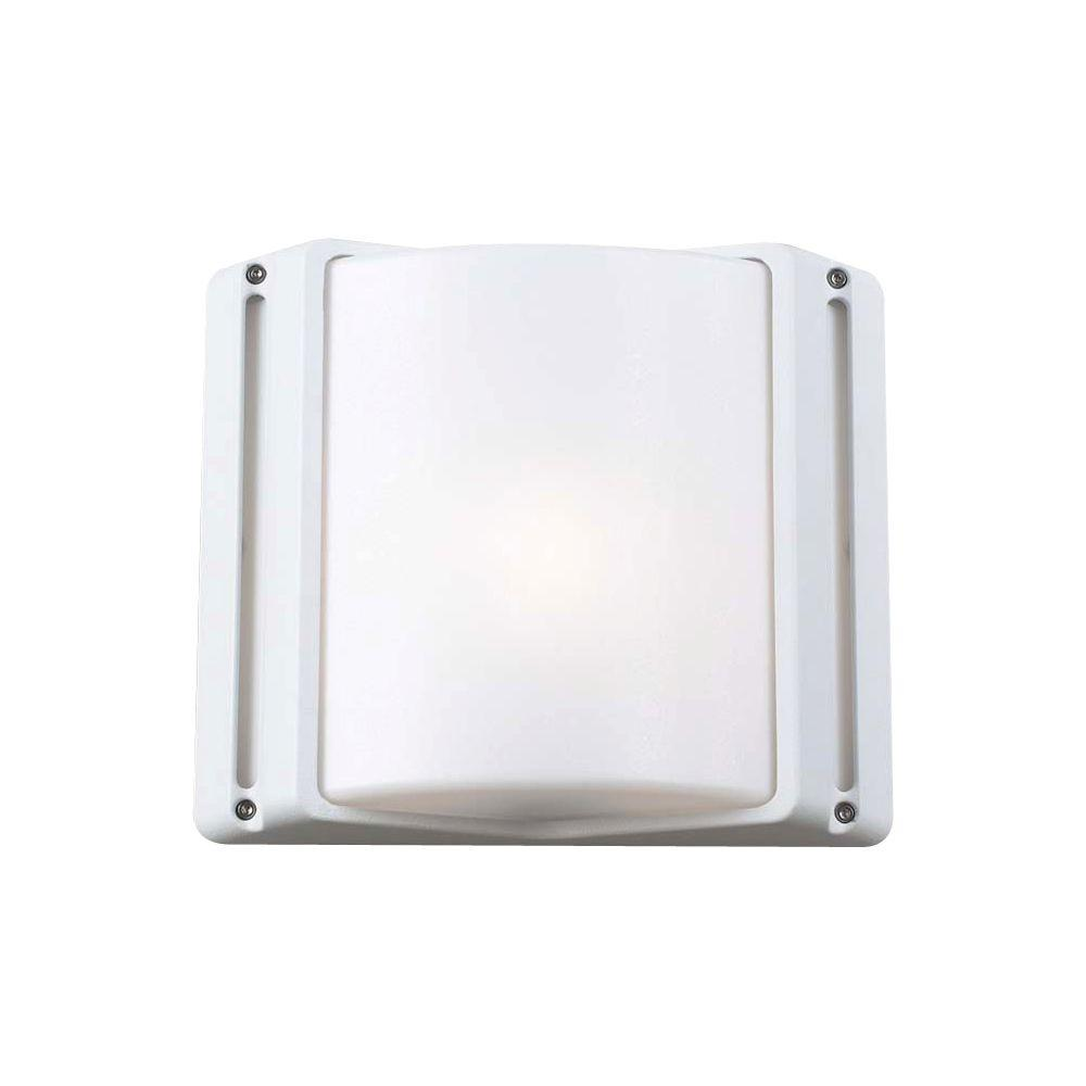 PLC Lighting 1 Light Outdoor Wall Sconce White Finish Matte Opal Glass