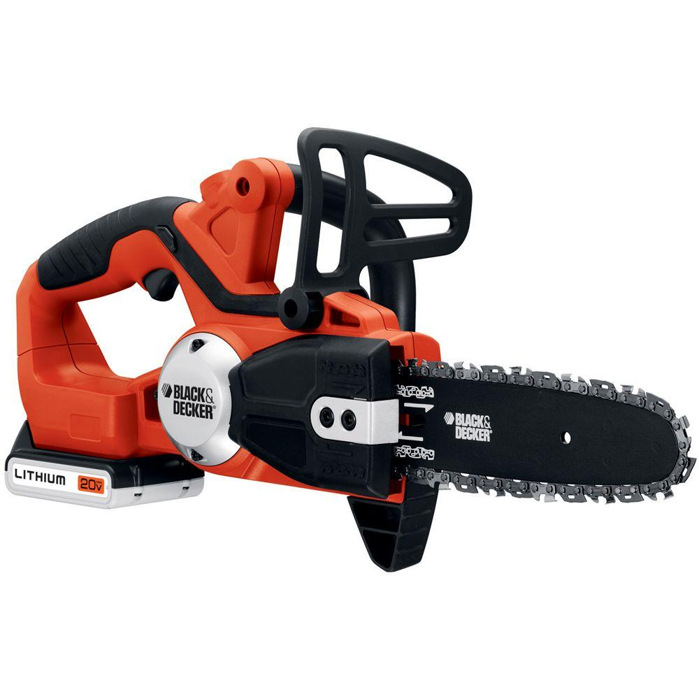 BLACK+DECKER 8 in. 20-Volt Max Lithium-Ion Cordless Electric Chainsaw
