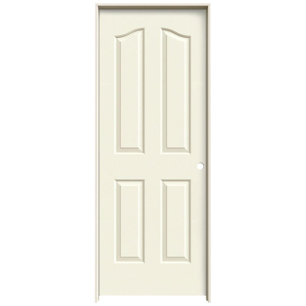 30 in. x 80 in. Provincial Vanilla Painted Left-Hand Smooth Molded