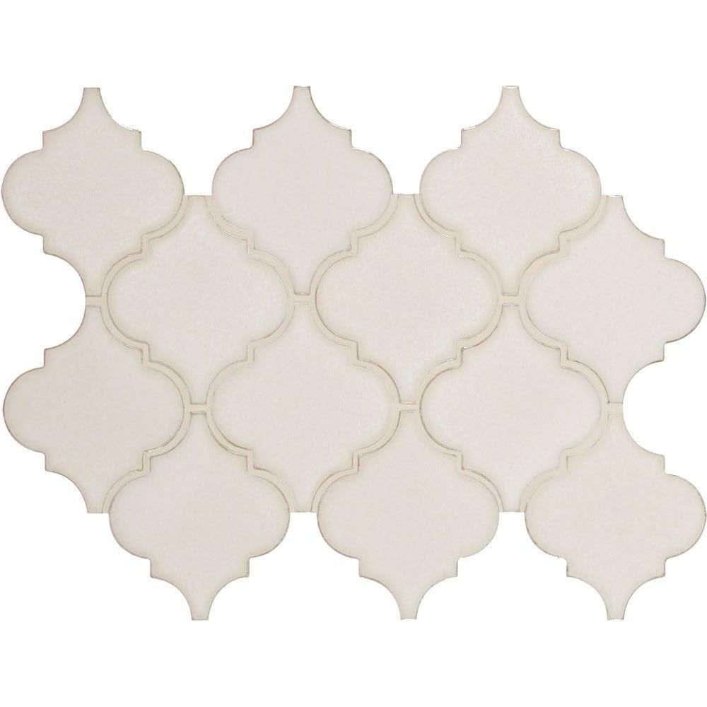 MS International Antique White Arabesque 10-1/2 in. x 15-1/2 in. x 8 mm Glazed Ceramic Mesh-Mounted Mosaic Wall Tile (11.3 sq.ft./case)