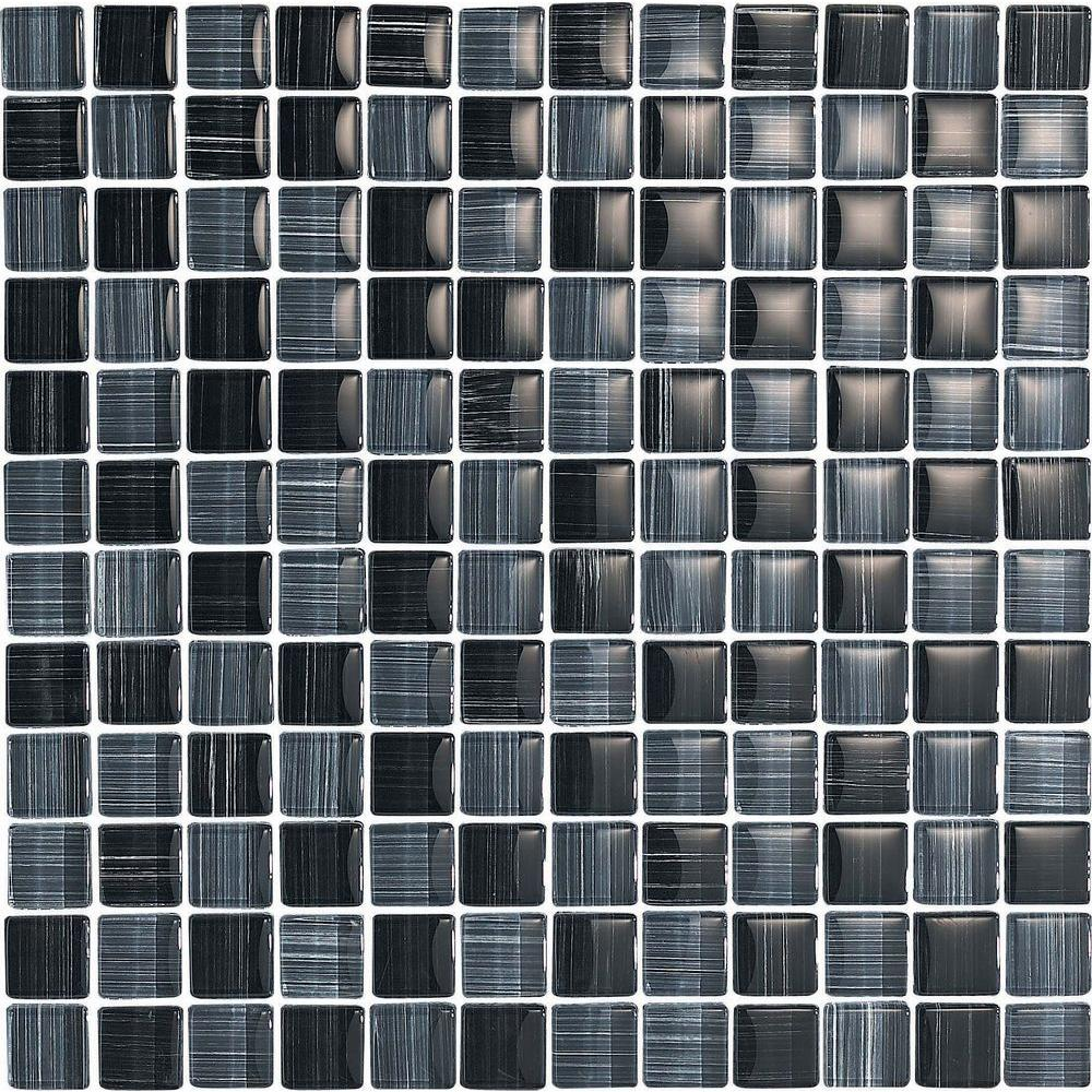 Epoch Architectural Surfaces Brushstrokes Nero-1501 Mosaic Glass Mesh Mounted - 4 in. x 4 in. Tile Sample-DISCONTINUED