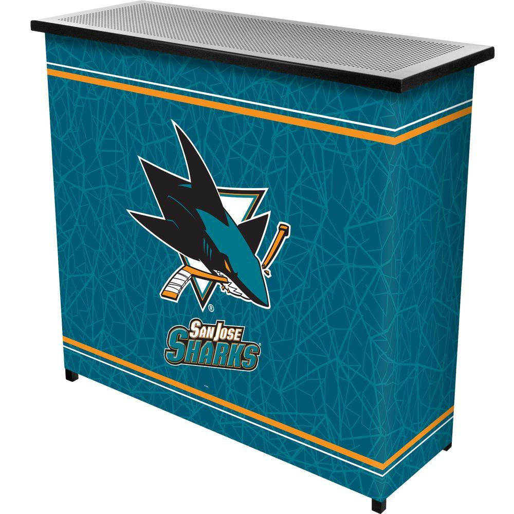 Trademark 2-Shelf 39 in. L x 36 in. H NHL San Jose Sharks Portable Bar with Case