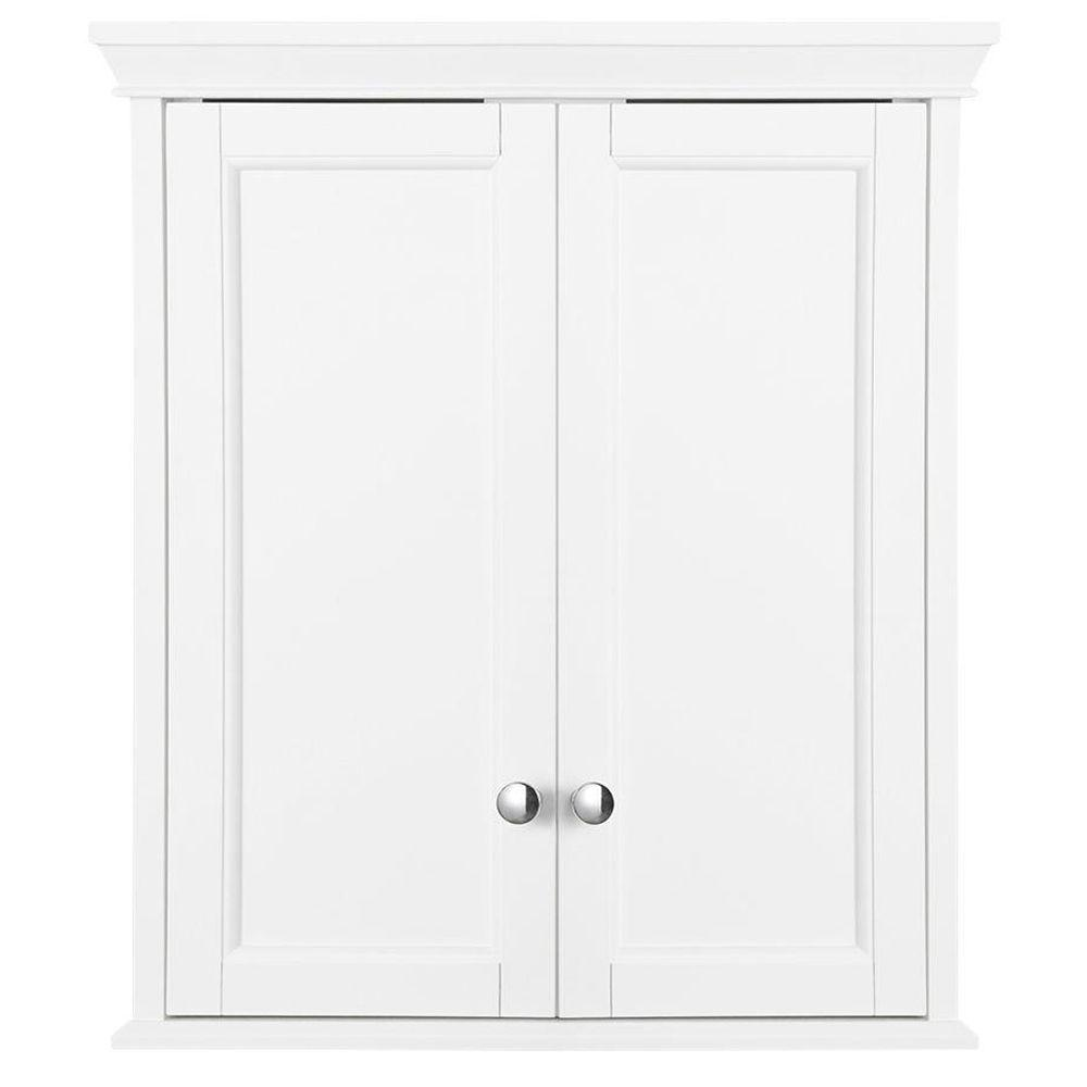 White Bathroom Wall Cabinets home decorators collection haven 24 in. w x 27-1/2 in. h x 8 in. d