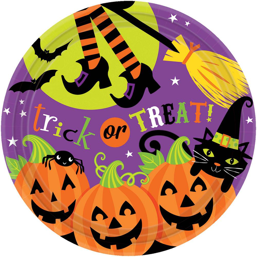 9 in. x 9 in. Witch's Crew Round Paper Plates (18-Count,