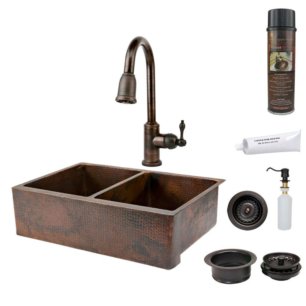 All-in-One Undermount Hammered Copper 33 in. 0-Hole 50/50 Double Bowl Kitchen Sink in Oil Rubbed Bronze