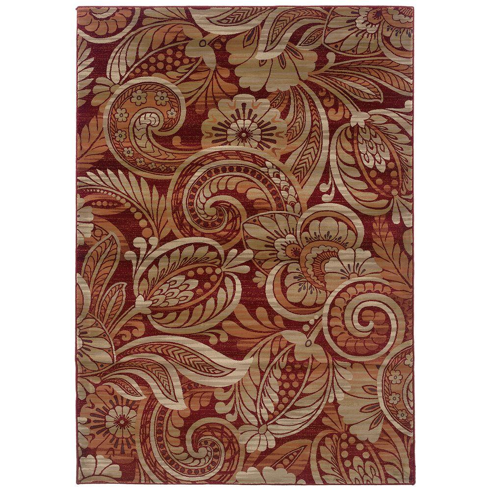 LR Resources Floral Play Cinnamon Curls 7 ft. 10 in. x 11 ft. 2 in. Plush Indoor Area Rug