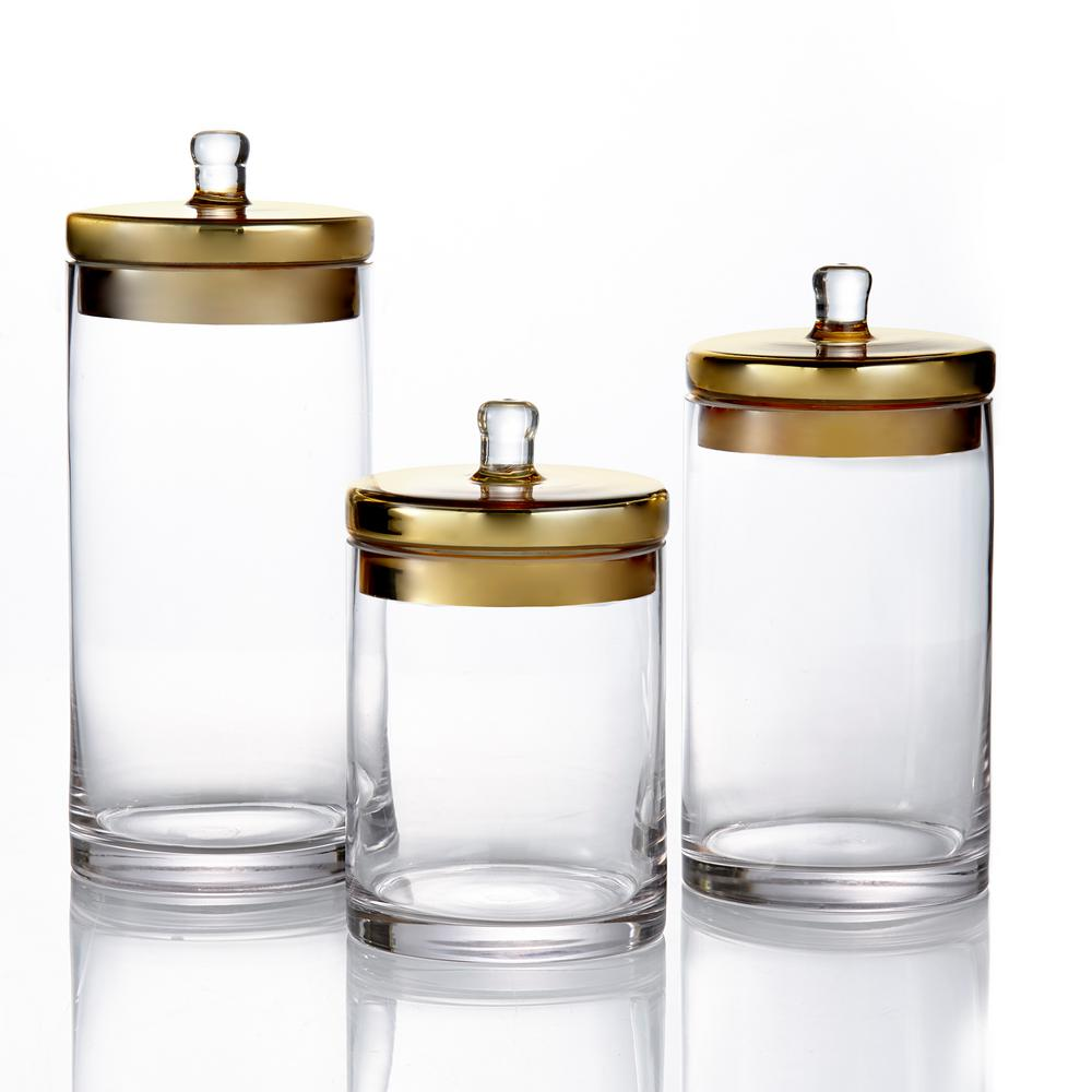 Style Setter 3 Piece Glass Canisters With Golden Lids In Small Medium And Large 203238 Gb Gd