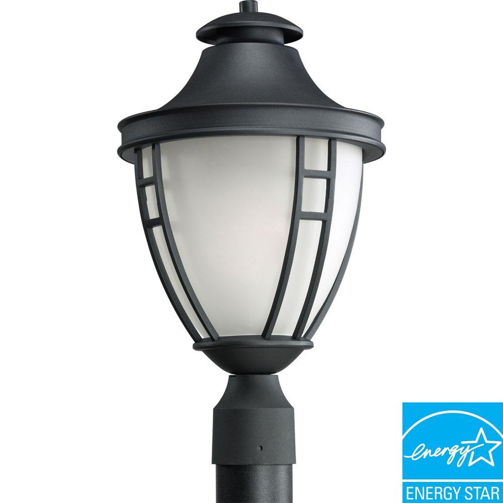 Progress Lighting Fairview Collection Textured Black 1-Light Fluorescent Post Lantern-DISCONTINUED