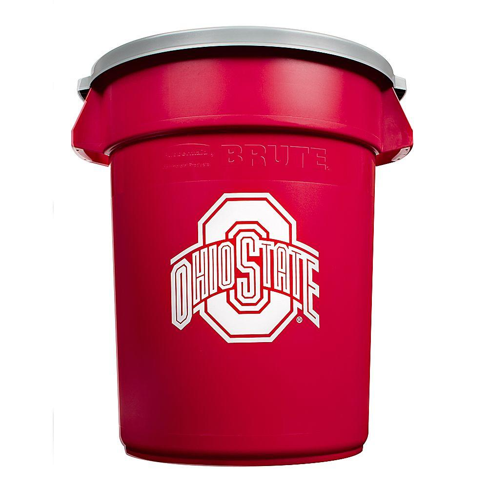 Rubbermaid Commercial Products NCAA Brute 32 gal. Ohio State University Trash Container with Lid