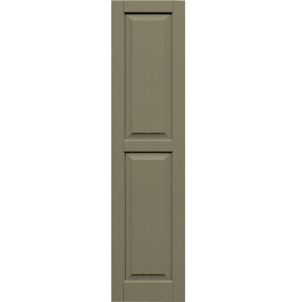 Winworks Wood Composite 15 in. x 62 in. Raised Panel Shutters Pair #660 Weathered Shingle
